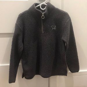 ADORABLE quarter zip fuzzy dark grey crew neck